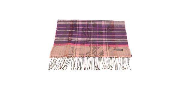 Dámsky fialovo-ružový šál so vzorom Pierre Cardin