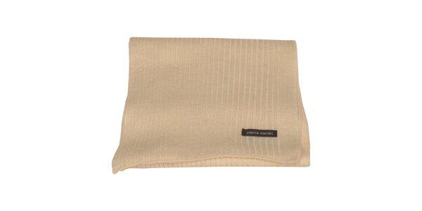 Krémový pletený šál Pierre Cardin