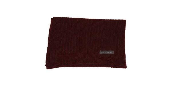 Vínovo červený pletený šál Pierre Cardin