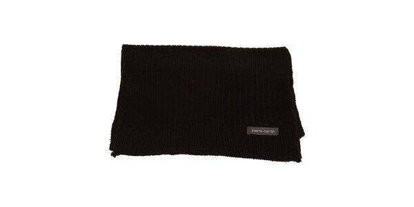 Čierny pletený šál Pierre Cardin