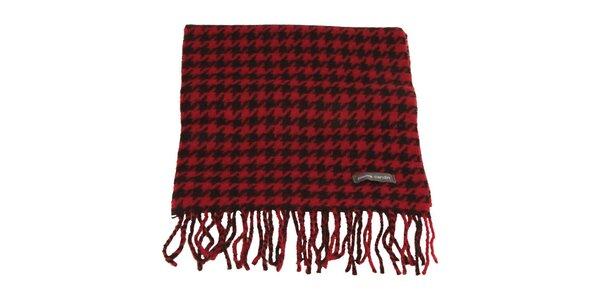 Červeno-čierny šál so vzorom kohútej stopy Pierre Cardin