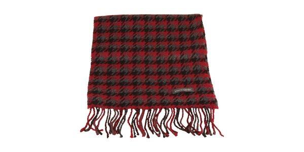 Červeno-čierno-šedý šál so vzorom kohútej stopy Pierre Cardin