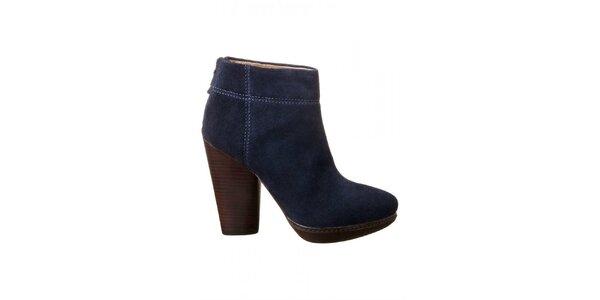 Dámske modré členkové topánky na opätku Modern Vintage