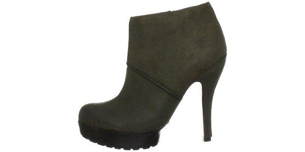 Dámske tmavo zelené topánky na opätku Modern Vintage