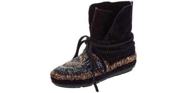 Dámske čierne členkové topánky s kamienkami House of Harlow