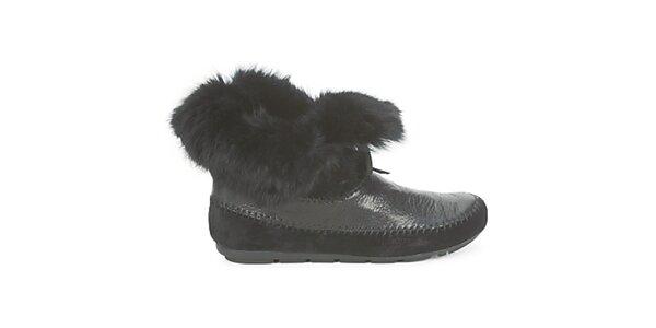 Dámske čierne indiánske topánky s kožúškom House of Harlow