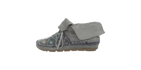 Dámske šedé členkové topánky s kamienkami House of Harlow