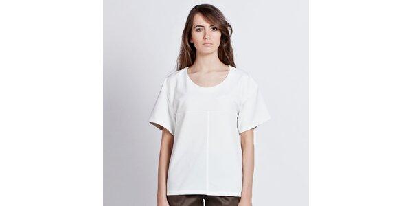 Dámsky biely top s vyhrňovacími rukávmi Lanti