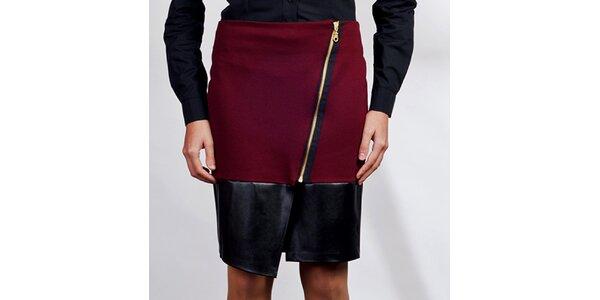 Dámska bordó asymetrická sukňa Lanti