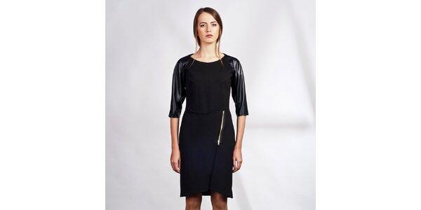 Dámske čierne šaty s trojštvrťovými koženkovými rukávmi Lanti