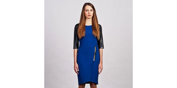 Dámske modré šaty s trojštvrťovými koženkovými rukávmi Lanti