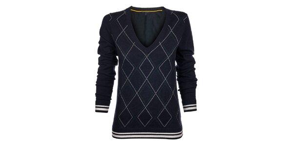 Dámsky tmavo modrý károvaný sveter Tommy Hilfiger