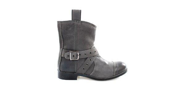 Dámske šedé kožené kovbojské topánky Levis