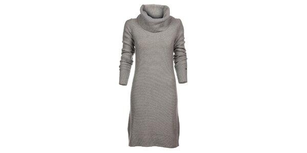 Dámske svetlo šedé pletené šaty Tommy Hilfiger