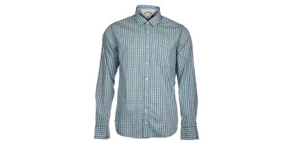 Pánska modro-zelená kockovaná košeľa Tommy Hilfiger