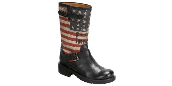 Dámske čierne kožené čižmy s americkou vlajkou Fuck Me I Am Famous by David…