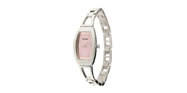 Dámske ocelové hodinky Oxbow s ružovým ciferníkom