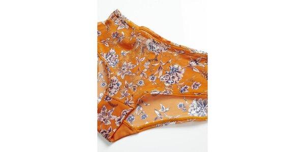 Dámske oranžové nohavičky s kvietkami Hoff by Hoff