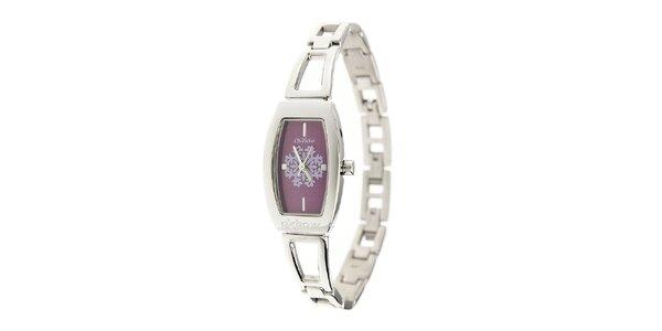 Dámske ocelové hodinky Oxbow s fialovým ciferníkom