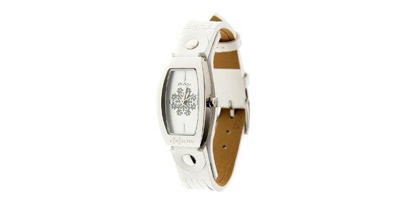 Dámske ocelové hodinky Oxbow s bielym koženým remienkom