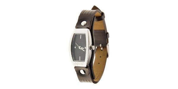 Dámske ocelové hodinky Oxbow s tmavo hnedým koženým remienkom