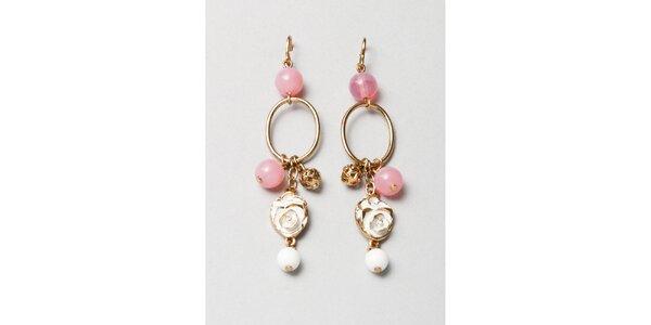Dámske zlaté náušnice s ružovými korálkami Pietro Filipi