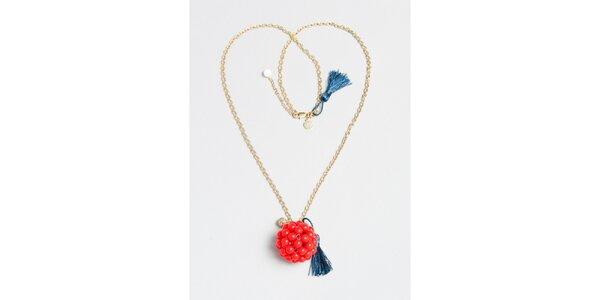 Dámsky zlatý náhrdelník s červeným príveskom Pietro Filipi