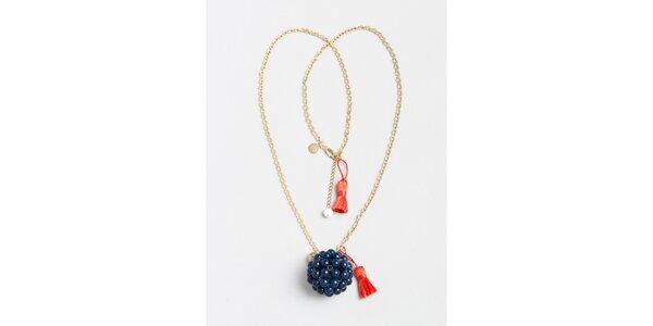 Dámsky zlatý náhrdelník s modrým príveskom Pietro Filipi