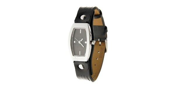 Dámske ocelové hodinky Oxbow s čiernym koženým remienkom