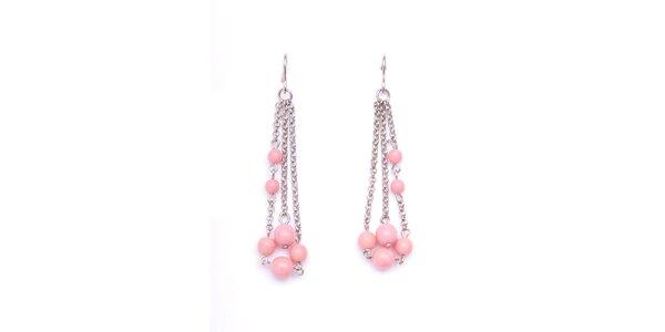 Dámske náušnice s ružovými korálkami Pietro Filipi
