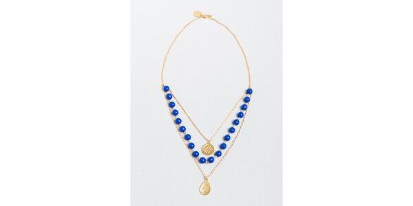 Dámsky náhrdelník s modrými korálkami a príveskami Pietro Filipi