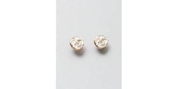 Dámske zlato-biele ružičkové náušnice Pietro Filipi