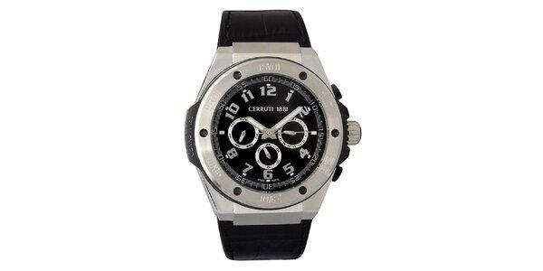 Pánske čierno-strieborné hodinky Cerruti 1881 s analogovým ciferníkom