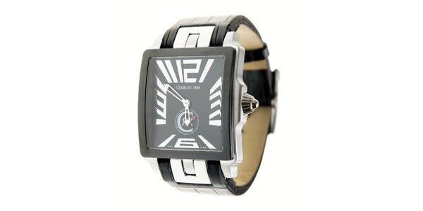 Pánske čierno-strieborné hranaté hodinky Cerruti 1881