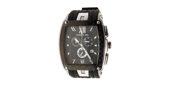 Pánske čierno-strieborné hodinky Cerruti 1881 s pryžovým remienkom