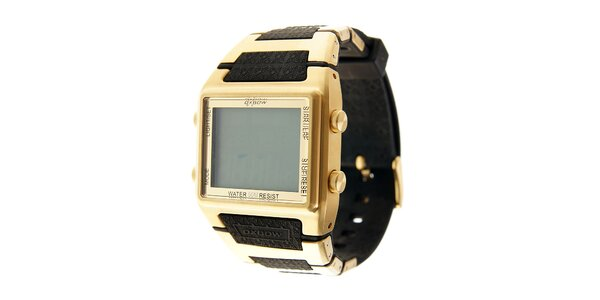 Zlaté digitálne retro hodinky Oxbow