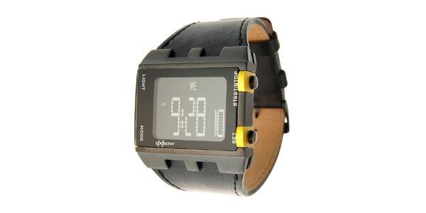 Pánske čierne digitálne hodinky Oxbow s čiernym koženým remienkom