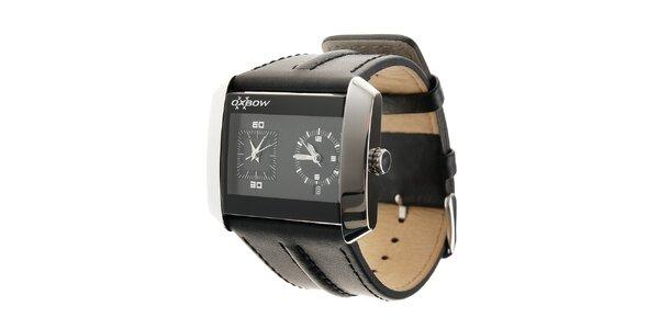 Pánske ocelové hodinky Oxbow s čiernym koženým remienkom