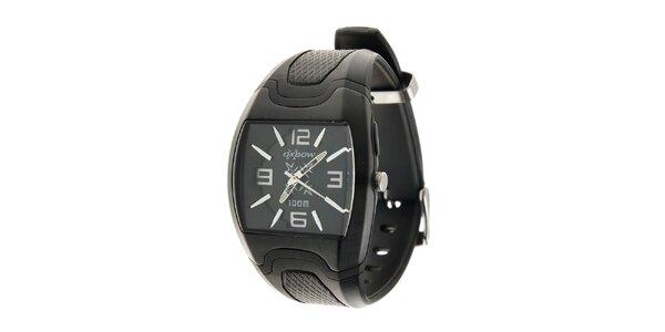 Čierne hodinky Oxbow s pryžovým remienkom