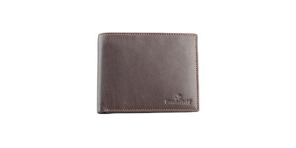 Hnedá prešívaná kožená peňaženka Brooksfield