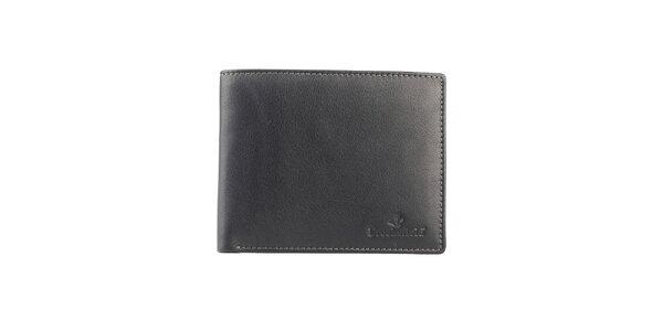 Čierna prešívaná kožená peňaženka Brooksfield