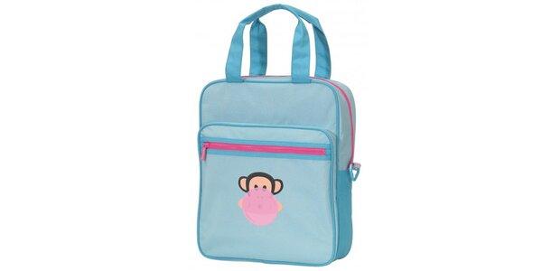 Dámska svetlo modrá taška Paul Frank s ružovým zipsom