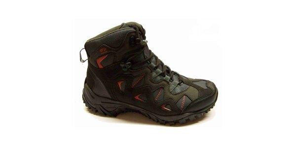 Dámske čierne trekové topánky s červenými detailmi Numero Uno