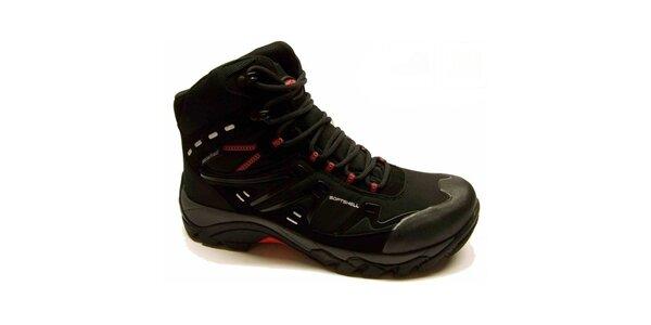 Pánske čierne trekové topánky s červenými detailmi Numero Uno