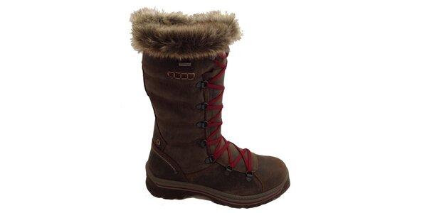 Dámske vysoké hnedé šnurovacie topánky Numero Uno