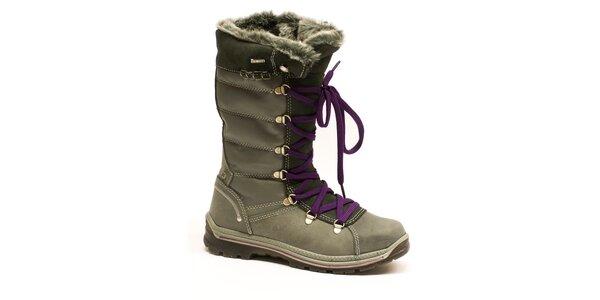 Dámske vysoké šedé šnurovacie topánky Numero Uno
