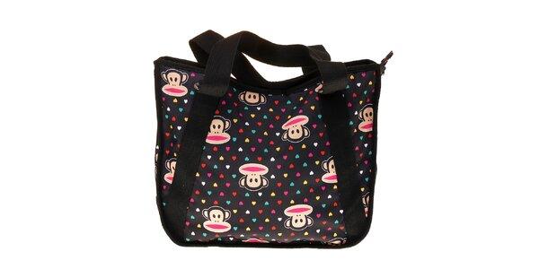 Dámska čierna taška Paul Frank s farebnou potlačou