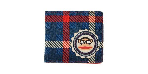 Modrá kockovaná peňaženka Paul Frank