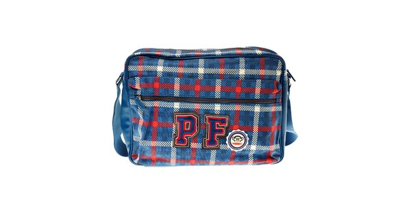 Modrá kockovaná taška Paul Frank s priehradkou na notebook
