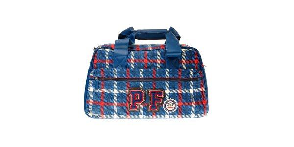 Modrá kockovaná taška cez rameno Paul Frank